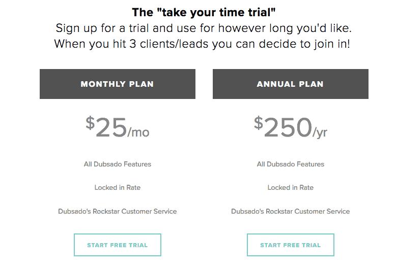 freelancer crm dubsado pricing