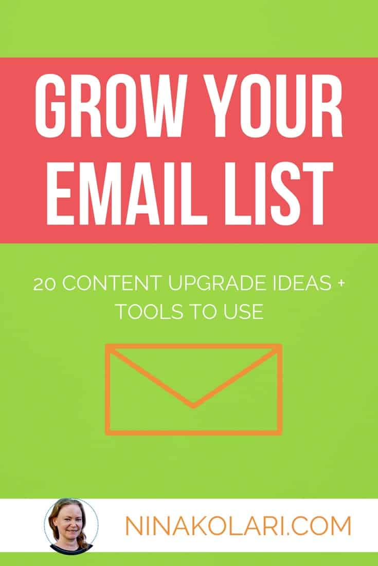 Want to Grow Your Email List? Here's 20 great content upgrade ideas you can create today. I also give you tools you can use to create opt-in bribers for free. #emaillist