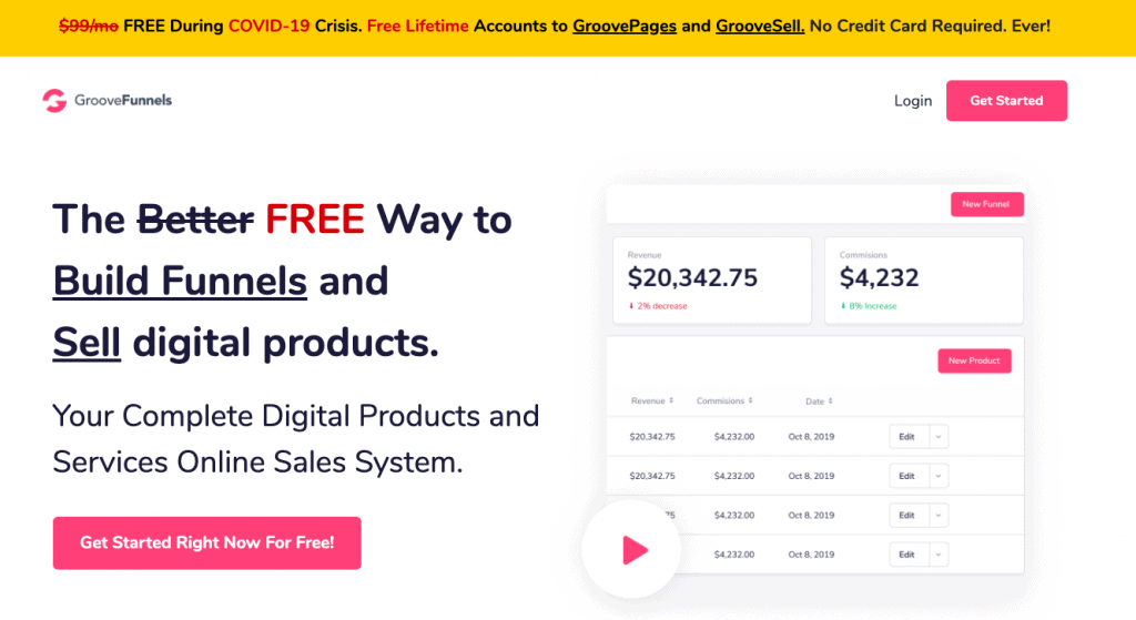 groovefunnels home page